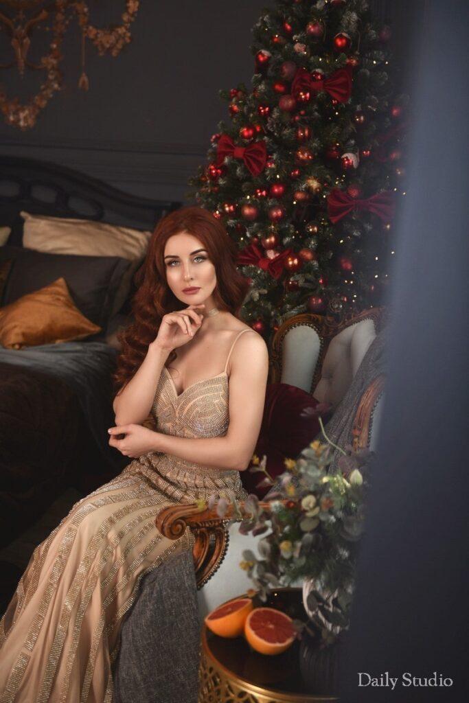 зал барокко, фотосессия в вечернем платье,