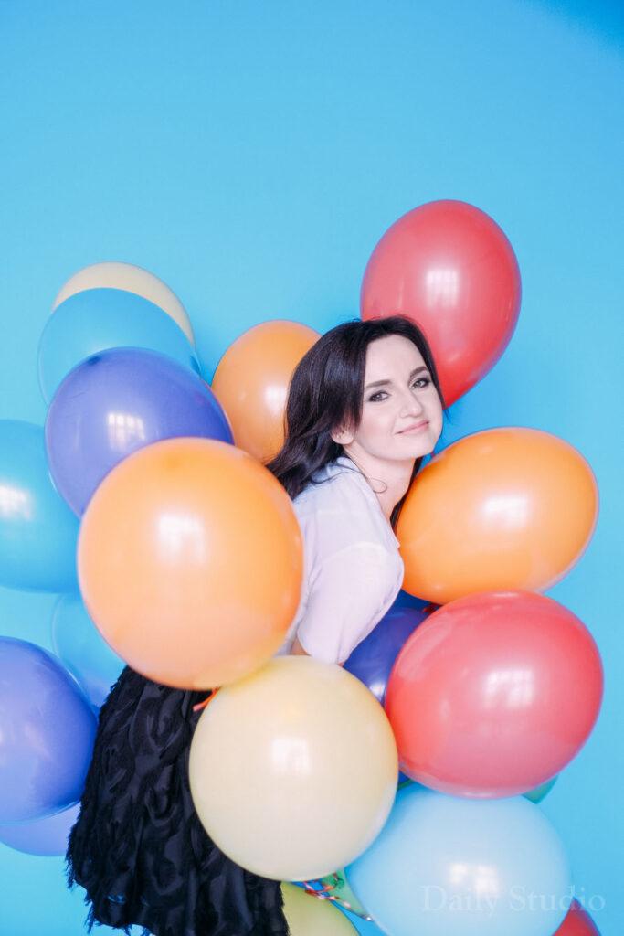 фотосессия с шариками, воздушный шар фотосессия