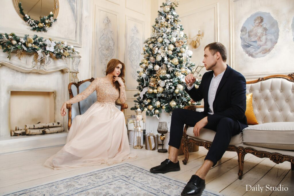 фотосессия новогодняя муж и жена, фотосессия новогодняя образы