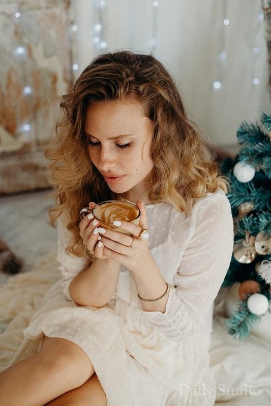уютные образы для новогодней фотосессии, уютная зимняя фотосессия